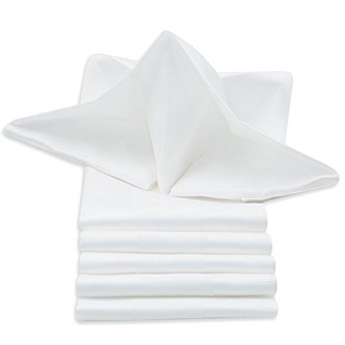 ZOLLNER 6er-Set Damast Stoffservietten, Baumwolle, 50x50 cm, Atlaskante, weiß