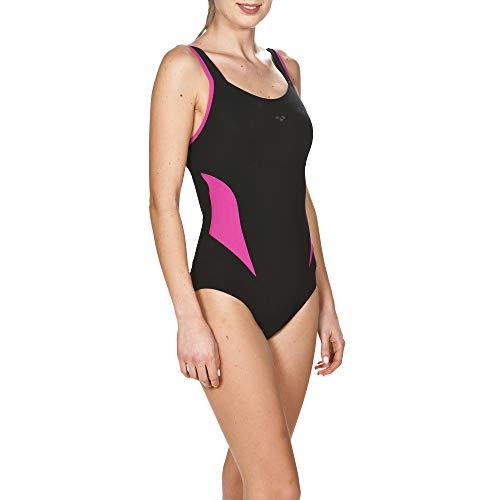 Arena BODYLIFT Women's Makimurax Low Strap Back One Piece Swimsuit, Black-Rose Violet, 44