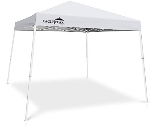 EAGLE PEAK 10' x 10' Slant Leg Pop-up Canopy Tent Instant Outdoor Canopy Easy Set-up Folding Shelter with 64 Square Feet of Shade (White)