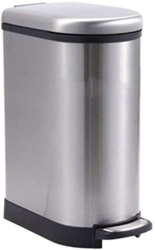 Vuilnisbakken vuilnisbak stille roestvrijstalen U-vormige badkamer Living Kitchen vuilnisbak met deksel pedaal papiermanden (Maat: 10L), Maat: 8L
