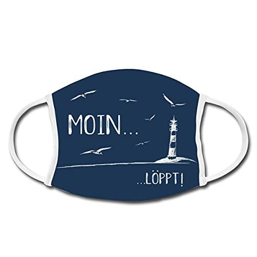 Moin Löppt Läuft Bei Mir Dialekt Plattdeutsch Mund-Nasen-Bedeckung, Weiß