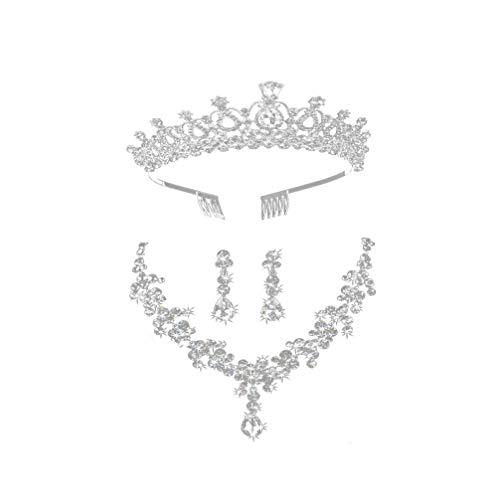 Minkissy Collar de Cristal Pendientes de Tiara Conjuntos de Joyas de Novia Corona de Boda Pendientes de Collar de Diamantes de Imitación para Fiesta de Banquete (Plata)
