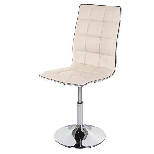Mendler Esszimmerstuhl HWC-C41, Stuhl Küchenstuhl, höhenverstellbar drehbar, Kunstleder ~ Creme