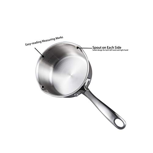 Product Image 7: IMEEA 1/2-Quart Saucepan Butter Warmer 18/10 Tri-Ply Stainless Steel Butter Melting Pot with Dual Pour Spouts