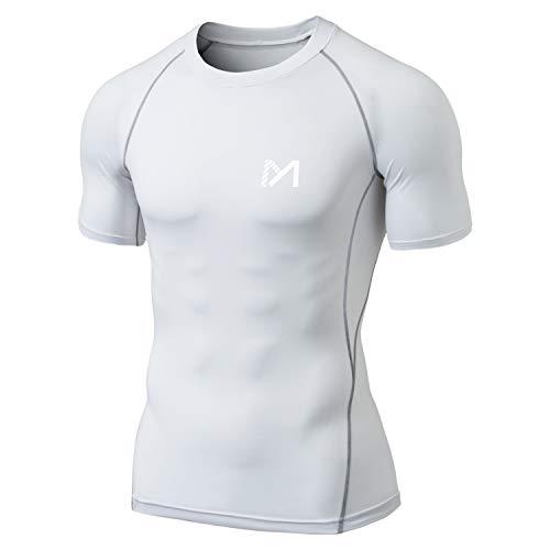 MEETYOO Kompressionsshirt Herren, Laufshirt Kurzarm Funktionsshirt Atmungsaktiv Sportshirt Männer T-Shirt für Running Jogging Fitness Gym (Weiß, M)