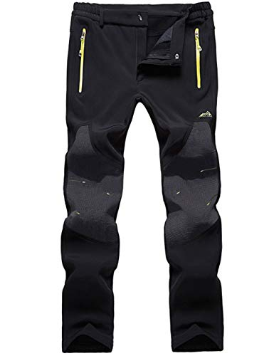 DENGBOSN Herren Wanderhose Wasserdicht Softshellhose Outdoorhose Winddicht Warm Gefüttert Winter Trekkinghose,KZ16607M-Black-S