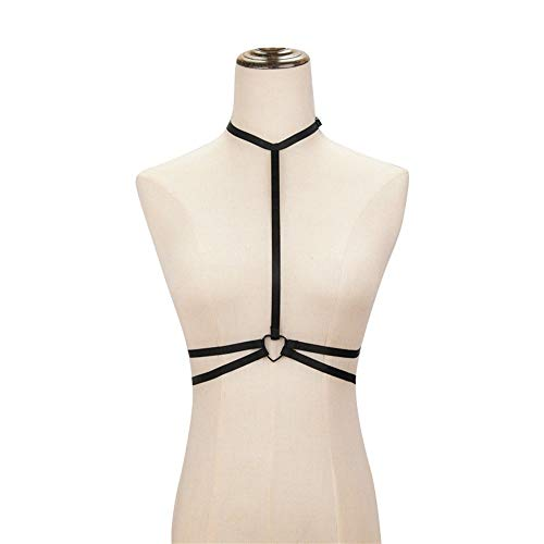 Fashion Sexy Strap Top Zwart Elastic Band Female Restraint Bra Bandage Ondergoed ZHQHYQHHX (Color : Black, Size : One size)