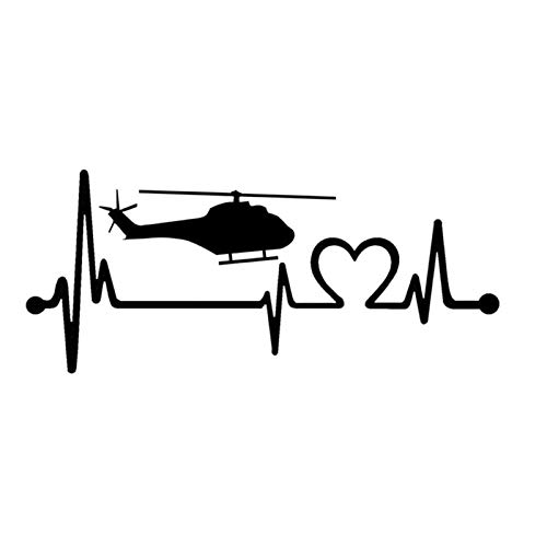 Helicóptero Heartbeat Lifeline Chopper Pilot Vinyl Black/Silver Car Sticker (Color Name : Black)