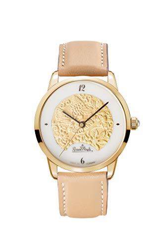 Rosenthal - Reloj de Porcelana para Mujer, Correa de Piel marrón, diseño de jardín mágico