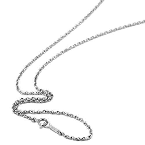 [ルビイ] ホワイトゴールド K18 小豆 チェーン ネックレス 幅1.8mm 長さ60cm