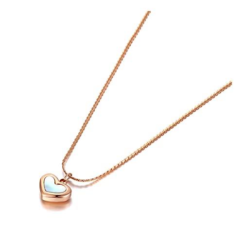 QDGERWGY Collares con Colgante de corazón de Acero Inoxidable de Titanio, joyería de Moda, Collar de Concha Blanca Bohemia para Mujeres y niñas