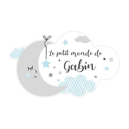 Sticker Porte Prénom Personnalisable Bleu Le Petit Monde de. - Dimensions 25x15cm - Adhesif Permanent Brillant