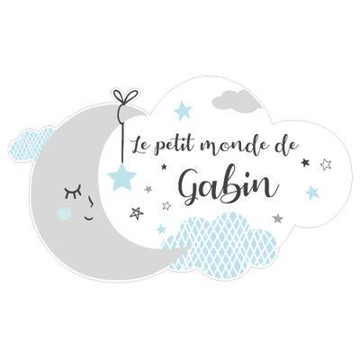 Sticker Porte Prénom Personnalisable Bleu Le Petit Monde de. - Dimensions 40x24cm - Adhesif Permanent Brillant