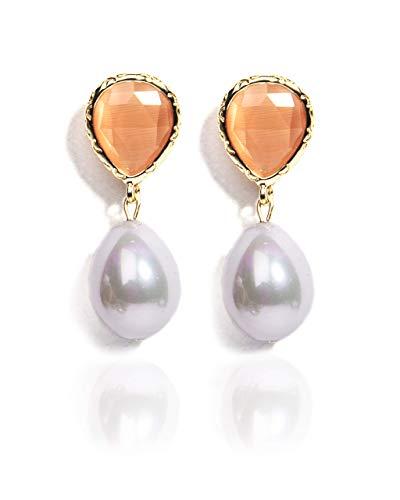 VintFlea Pendiente de gota de perlas blancas genuinas para las mujeres