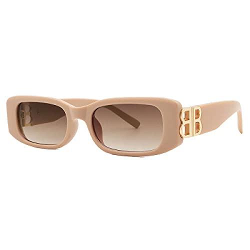 Secuos Gafas De Sol para Mujer De Marca BB, Gafas De Sol Clásicas De Moda para Hombre, Uv400, Gafas De Sol Cuadradas Retro Rectangulares Deportivas De Viaje, Apricottea