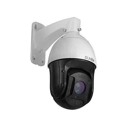 SUNBA Cámara PTZ zoom óptico de 25x, 5 MP IP PoE+ para exterior, conversación bidireccional, alta velocidad, cúpula PTZ, visión nocturna por infrarrojos hasta 300 m (601-D25X 5MP Ver)