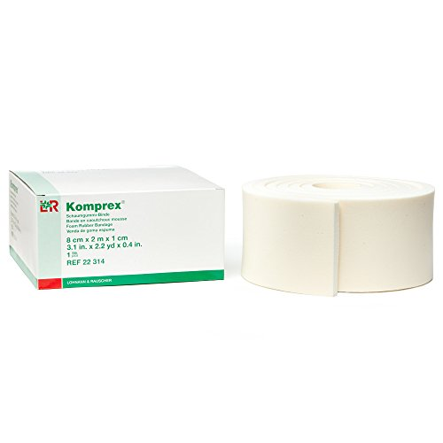 Lohmann&Rauscher 77360 Komprex Foam Rubber Roll, 10 mm Thick Roll of Foam Padding for Compression Wrapping, 8 cm Wide x 2 m Long