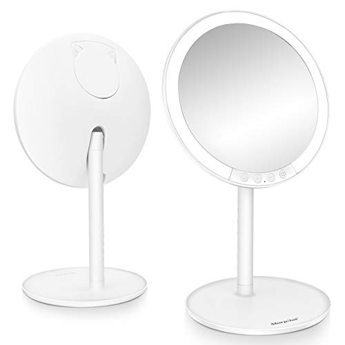 Lighted Makeup Mirror, Morpilot 7.8'' 1X Vanity LED Mirror with 3 Color Modes & 7-Level Adjustable...