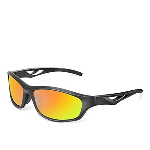 ADSIKOOJF Deportes Polarizado Gafas De Sol para Hombres Mujeres Ligero Gafas Ciclismo Moda Viento Gafas Deportivas para Corriendo Conducción Pesca Golf Trekking-Amarillo y Negro 14x3.6cm(6x1inch)