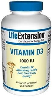 Life Extension. Vitamin D3. 1.000 IU. 250 Cápsulas blandas