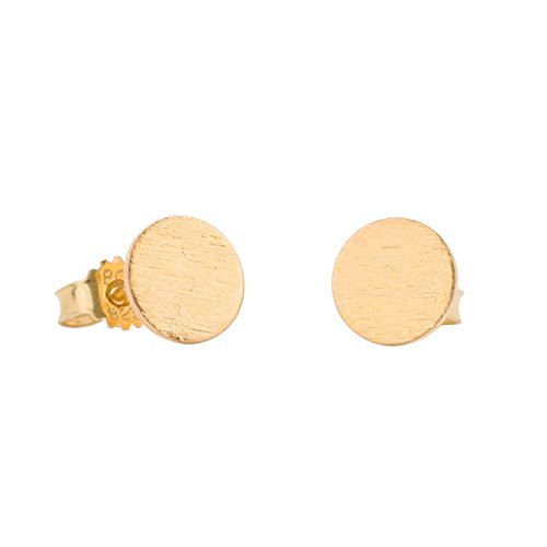 Pernille Corydon Ohrstecker für Frauen Solid Coin runde Platte Kreis goldenes Plättchen Echtschmuck 925er Sterling 18 Karat vergoldet 8mm - E202g