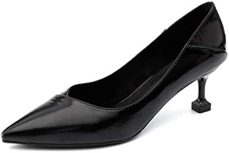 HOESCZS Frauen Frauen Schuhe Frühling Und Herbst Hochhackige Frauen Mitte Mit Stiletto Spitz Cat Mit Einzelnen Schuhen  weltweite Verbreitung