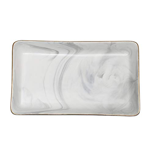SOCOSY Marble Ceramic Ring Dish Jewelry Dish Ring Holder Jewelry Organizer with Golden Edged Home Decor Wedding Gift (Marble, Large)
