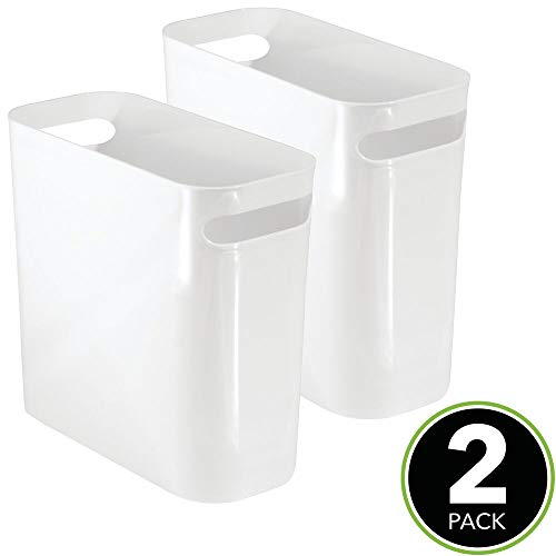 """mDesign Slim Plastic Rectangular Small Trash Can Wastebasket, Garbage Container Bin with Handles for Bathroom, Kitchen, Home Office, Dorm, Kids Room - 10"""" High, Shatter-Resistant - 2 Pack - White"""