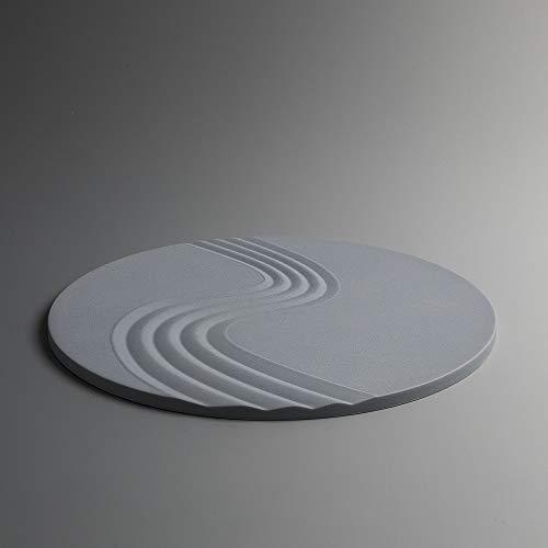 ICNBUYS - Sottopentola Zen Garden 2 pezzi, in silicone antiscivolo isolato dal calore, tappetino decorativo adatto a lavastoviglie, congelatore, forno a microonde e forno, 19,1 cm, rotondo blu grigio