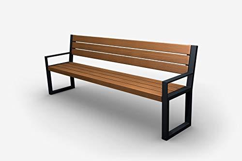 Parkbank Gartenbank Stahl Massiv Holz Palisander Gestell Gartenmöbel Modern Sitzbank (02004A)