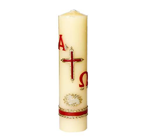 Cirio pascual decorado con cordero blanco, destello dorado, cruz, alfa y omega con colores rojo y dorado. 5.1 cms diametro x 20 cms de alto. Mezcla de cera natural y parafina seca....