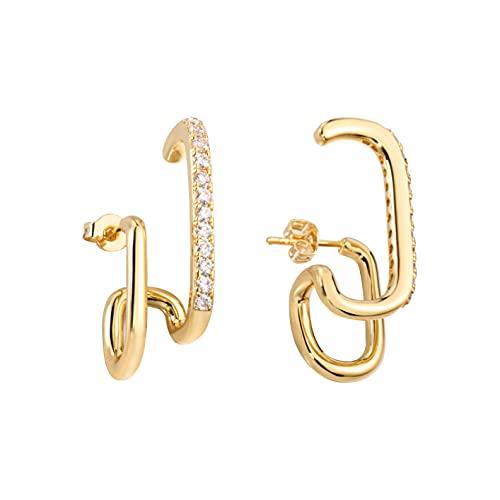 Pendientes de aro de oro pequeños aros con circonita cúbica y aros abiertos de cristal y medio aro de plata de ley con barra pequeña, aretes cuadrados para mujer
