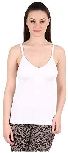Fashiol Women's Stretch Cotton Cami with Built-in Shelf Bra Size (32,34,36,and 38) Colour White,Black,Skin (White, 38)