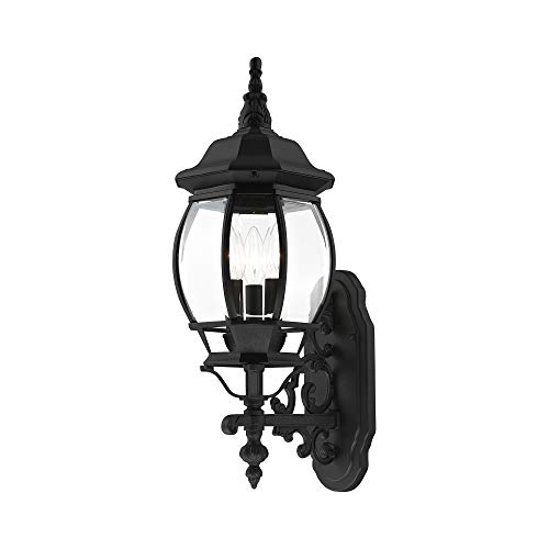 Livex Lighting 7524-04 Outdoor Wall Lantern with Clear Beveled Glass Shades, Black