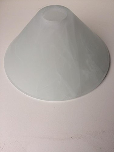 Paralume in vetro di ricambio per lampada, attacco E27, altezza 10 cm, apertura 41 mm, diametro inferiore 24 cm, colore: alabastro