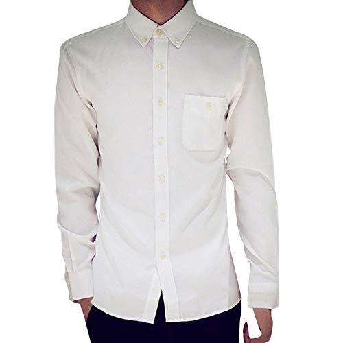 Loeay Trajes Casuales Formales Oxford de Manga Larga para Hombre Slim Fit Camisetas Blusa Top Blanco 2XL