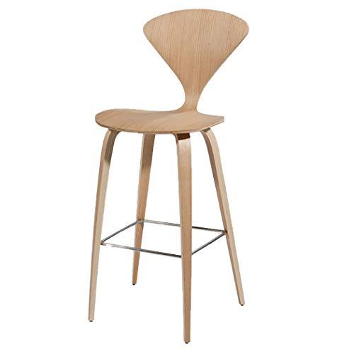 JQQJ barkruk, industriële, fan-vorm, barkruk, van massief notenhout, 4 voeten, voetensteun, barkruk, thuis, eetstoel, achter, kruk 45x50x110cm Log