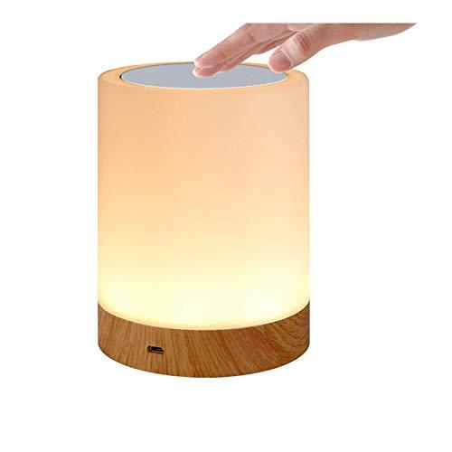 HFY Luz de Nocturna LED, Lámpara de Mesa LED, Lámparas de Mesita de Noche con control táctil, Control Tactil, Regulable, USB Recargable, para Habitación, Cámping (Grano de madera-1)