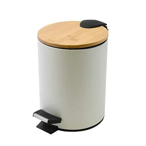 Spirella Kosmetikeimer 5 Liter Edelstahl Bambus mit Absenkautomatik und Inneneimer Adonis Badezimmer Mülleimer Softclose Abfalleimer Weiß