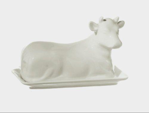 La Porcellana mucchine Vaca Mantequilla Plato Caja de Regalo, Color Blanco, 18cm