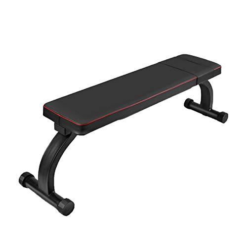 GGLL Flachbank Hantel Fitness Stuhl Brustmuskeltraining Stuhl Faltbare Hantelbank, Utility-Workout Bench für Start Krafttraining Black