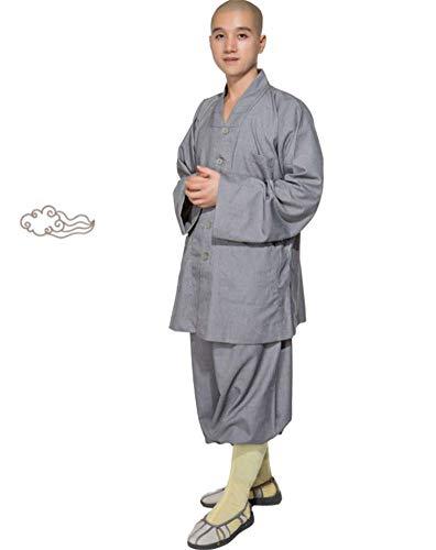 AMhuui Abito meditazione Completo, Estate buddista di Shaolin, Arti Marziali Abbigliamento Shaolin Kung Fu Uniformi Arti Marziali Abbigliamento Monk Abito Corto Abito Cotone mercerizzato Dress Monk