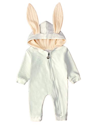 Baby Girl Boy Clothes Top Hoodie Pocket Bodysuit Romper Long Sleeves Outfit Clothing (12-18M, Thicken-White)