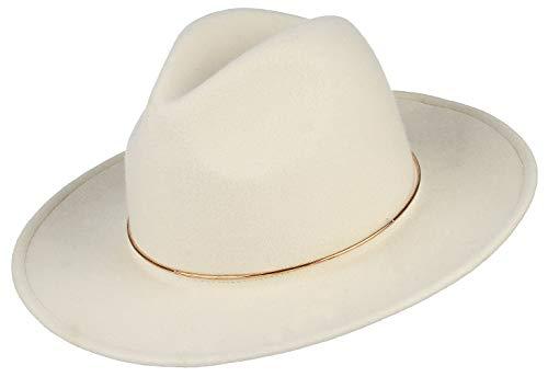 DEMU Damen Wollfilzhut Westernhut Cowboyhut Filzhut Fedora Herren Hut mit breiter Krempe Beige-1