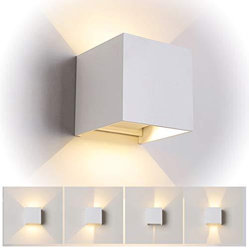 TVGO Wandleuchte Innen/Aussen Modern,LED Wandbeleuchtung mit einstellbar Abstrahlwinkel Design, IP 65 Wasserdichte außenleuchte WandLampe 3000K Warmweiß (7W Weiß), Aluminium, 7 W
