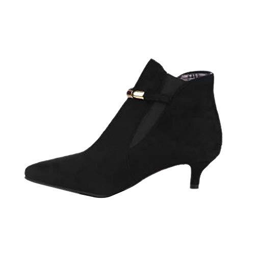 DAGE Frau Spitz Kegelart Stiefeletten Plattform Wildleder Ärmel Martin Stiefel Brachliegen Kleid Stiefel (Absatzhöhe: 3cm),Black,41