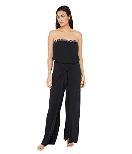 La Blanca Women's Strapless Jumpsuit Swimsuit Cover Up, Black Moon//Macrame Solids, X-Small