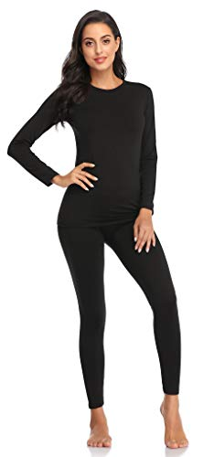 Thermal Underwear for Women Ultra Soft Long Johns Set with Fleece Lined Base Layer Women Top & Bottom Winter(Black M)