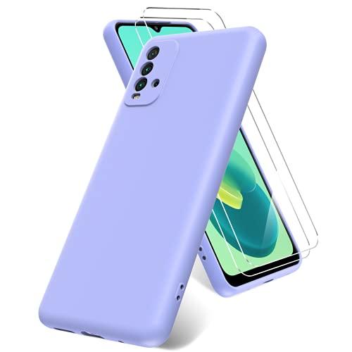 Oududianzi Funda para Xiaomi Redmi 9T,con 2 Protectore Pantalla in Cristal Templado,Funda de TPU de Silicona líquida Suave, Funda de Goma de Silicona líquida a Prueba de Golpes-Púrpura