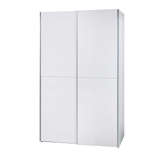 lifestyle4living Schwebetürenschrank in weiß, 125 cm | Hochwertiger Kleiderschrank mit 2 Schwebetüren, 2 Einlegeböden & 2 Kleiderstangen